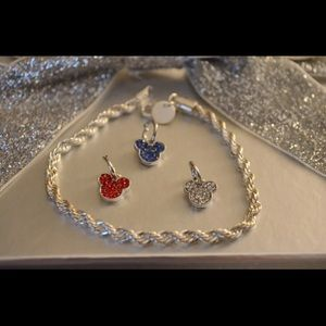 Silver Bracelet With 3 Mickey Charms